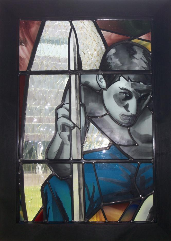A section of the cartoon fabricated in glass