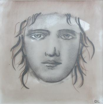 Face of a youth painted and fired onto glass