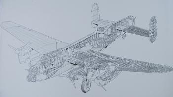 Full-cutaway of an Avro Lancaster Mk 1 bomber