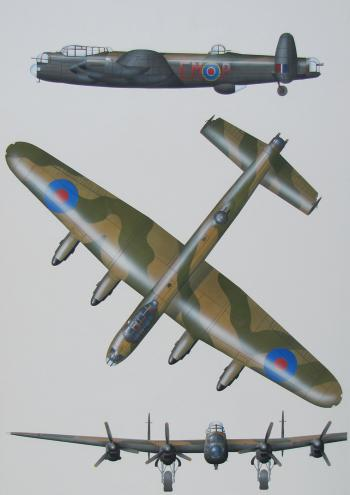Three airbrushed elevations of an Avro Lancaster Mk 1 bomber
