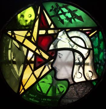 A panel (40cm in diameter) inspired by the poem 'Sir Gawain and the Green Knight'.  Exhibited in 2011